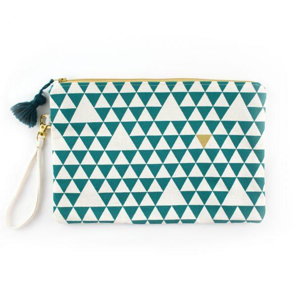 Pochette Triangles - Vert & Doré