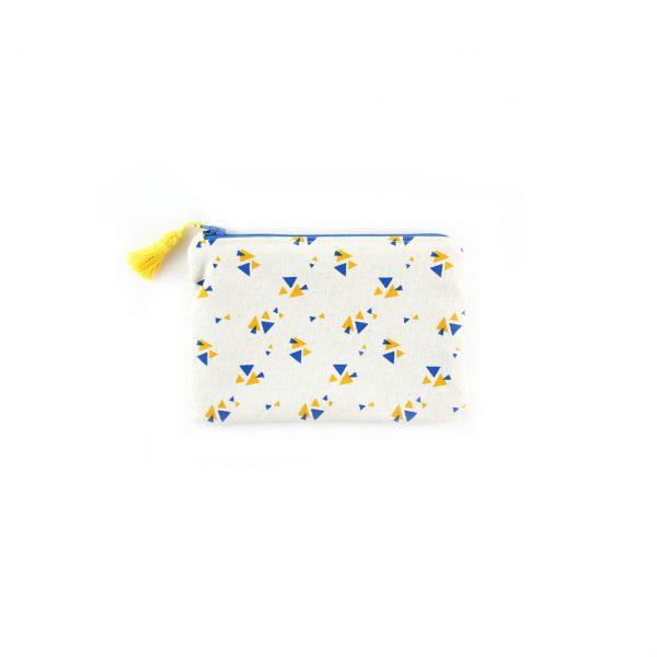 Petite pochette Triangles - Jaune & Bleu