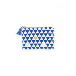 Petite pochette Triangles - Bleu & Jaune