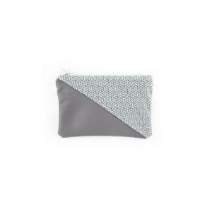 Petite pochette - Cubes Gris / Simili Gris