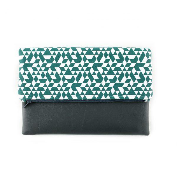 Pochette réversible - Vert / Simili Gris